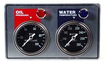 NEW SOUTHWEST SPEED RACING 2 GAUGE PANEL WITH OIL PRESSURE & WATER TEMPERATURE GAUGES, WARNING LIGHTS & SENDING UNITS