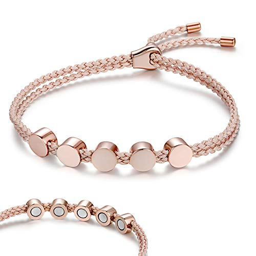 Rainso Womens 925 Sterling Silver Magnetic Bracelets for Arthritis Wristband (Rose Gold Pink) ()