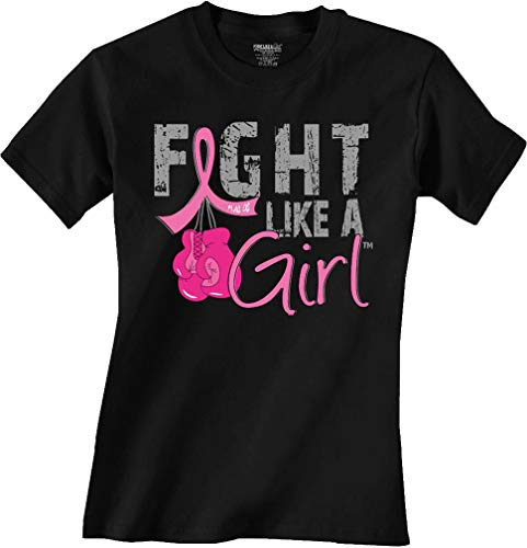 Fight Like a Girl Knockout w/Boxing Gloves Breast Cancer T-Shirt Ladies Classic Fit Black w/Pink [L]