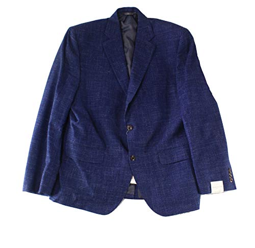 Jack Victor Two Button - Jack Victor Mens Two Button Wool Notch-Collar Blazer Blue 42