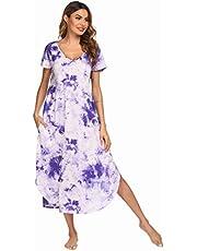 Ekouaer Women's Sleepwear Casual V Neck Nightshirts Short Sleeve Long Nightgown S-XXL
