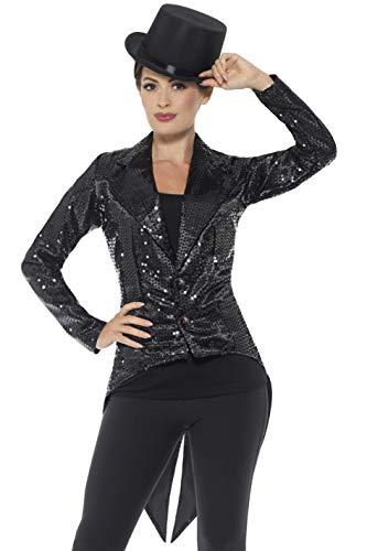 Smiffys Women's Sequin Tailcoat Jacket, Ladies, Black,
