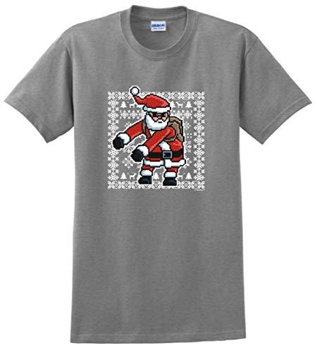 Dancing Santa Claus Gifts Santa Clothing Flossing Santa Ugly Christmas Sweater Themed Santa T-Shirt 2XL SpGry Sport Grey