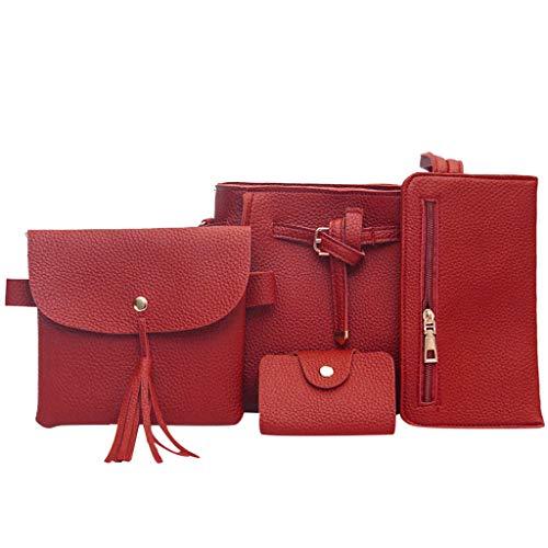 Frauen Classic Taschen New Fashion Vier-Stück-Anzug Umhängetasche Umhängetasche Brieftasche Handtasche, Handtasche + Umhängetasche + Brieftasche + Karte Paket Schwarz Braun Rot Grau Pink
