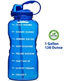 Giotto Large 1 Gallon/128oz Motivational Water Bottle with Time Marker & Straw, Leakproof Tritan BPA Free, Ensure You Drink Enough Water Daily for Fitness, Gym and Outdoor Sports-Blue