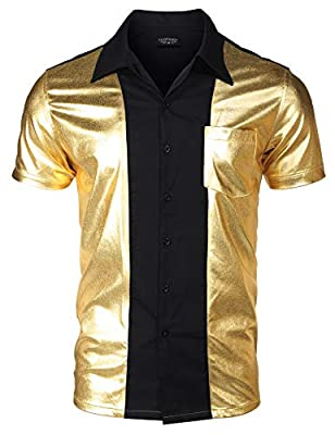 COOFANDY Mens Disco Shirt Short Sleeve Button Down Fashion Party Shirt Shiny Metallic Nightclub Bowling Shirt