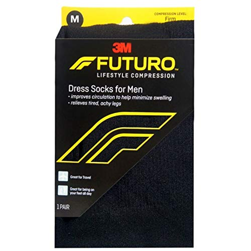 FUTURO Dress Socks For Men Firm Compression Medium Black 1 Pair (Pack of 4)