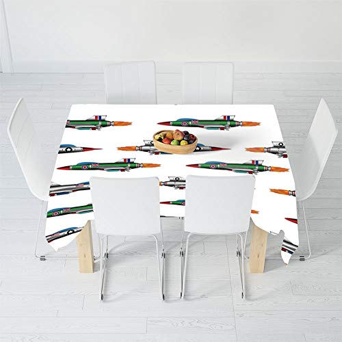 (Custom Tablecloth,Airplane Decor,for Home & Office & Restaurant Table Tea Table,102 X 60 Inch,Collection of Jet Fighters Rocket Aviation Attack)