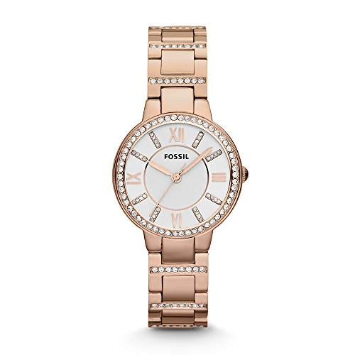Fossil Women's Virginia Quartz Stainless Steel Dress Watch, Color: Rose Gold (Model: ES3284) (Gold Watch Fossil Men Rose)