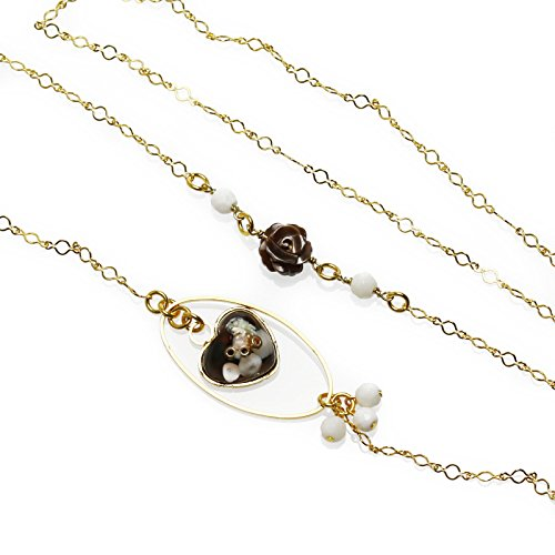 Tamarusan Glasses Chain Roses Brown Shell Onyx Gold Heart Gold by TAMARUSAN