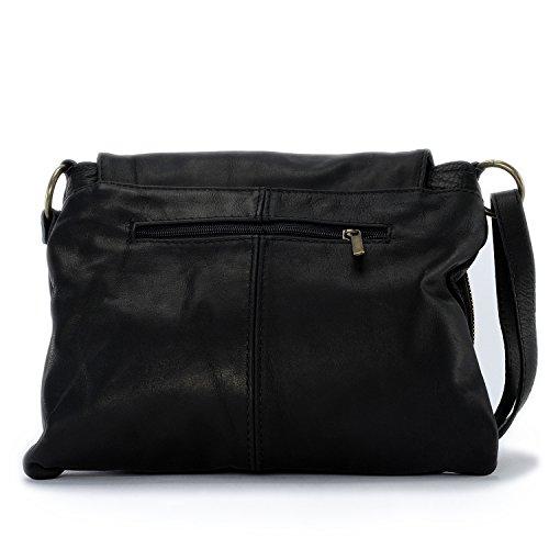 OH MY BAG-Bolso bandolera, diseño de mujeres de piel italiana, Mochila bandolera y de través de modelo de abril negro