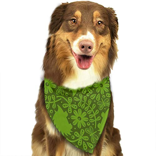 OURFASHION Hedgehog Leaves Green Bandana Triangle Bibs Scarfs Accessories for Pet Cats and Puppies ()