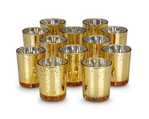 KISCO CANDLES: 10 Hour Votive Candles with Holders Gold Decorative Glass Home Decor, Beautiful Living Room, Kitchen, Bathroom Lighting   Long-Lasting Wax   12-Pack -