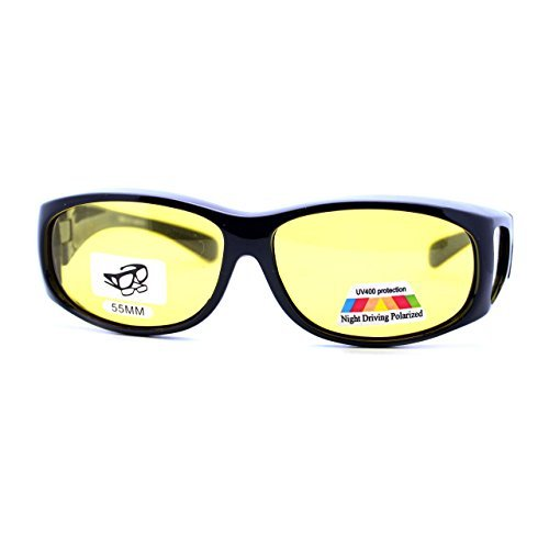 Fit Over Small Glasses Polarized Night Driving Yellow Lens Sunglasses Black