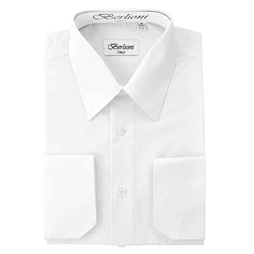 Snow Cuff - Berlioni Italy Men's Convertible Cuff Solid Dress Shirt Snow White-3XL (19-19½) Sleeve 36/37