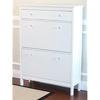 Nice Shoe Cabinet With Storage Drawer In White Finish