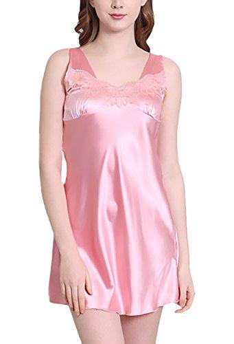 Da Pigiama Donna Camicia Vestito Di Pink Pizzo Estivo Notte Spaghetti Eleganti Corto Taglie In Camicie Cinghia Da Notte Grandi Moda wSax6