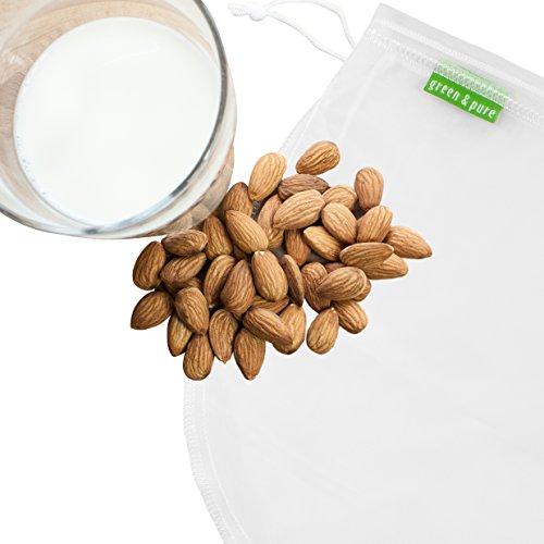GREEN & PURE Nussmilchbeutel aus 100% Nylon für vegane Nussmilch & Mandelmilch, Feinmaschiges Filtertuch Seiher Passiertuch I 2 Jahre Zufriedenheitsgarantie