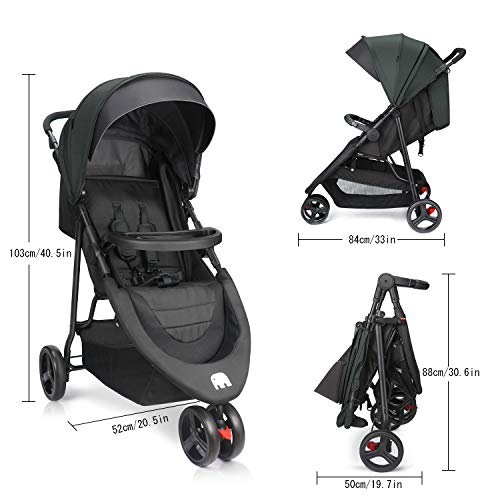413vpf6deUL - Meinkind Baby Stroller, Foldable Jogger Stroller Lightweight Baby Strollers 3-Wheels Running Stroller Travel Stroller With Canopy, Snack Tray, 5-Point Safety Belt, Storage Basket, Up To 33lbs Toddler