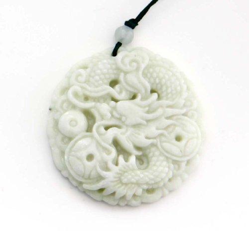Light Color Stone Fortune Dragon Amulet Pendant