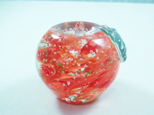 M Design Art Handcraft Glass Art Crystal Apple Handmade Art Glass Paperweight