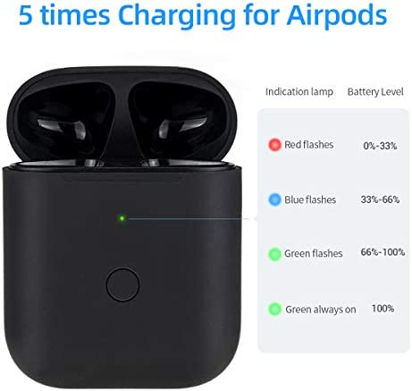 [Upgraded] Charging Case Replacement for Airpods with Sync Button, Wireless Charging Case Compatible with Airpod 1 & Airpod 2, 450mA Built-in Battery, Black 413vq3vw8ML