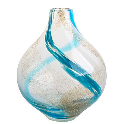 Ballerina Hand Blown Flower Vases Colored Blue and White Ribbon Bud Art Glass Vases for Homes Decoration 10.43