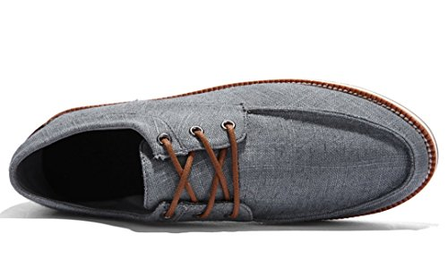 TDA Mens Casual Breathable Low Cuff Lace-up Linen Outdoor Sneaker Dark Grey hQhSS