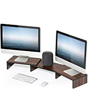 FITUEYES Dual Monitor Stand Computer/Laptop Riser Desk Swivel & Length Adjustable Walnut Brown DT108002WB