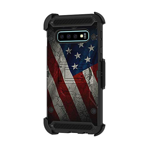 TurtleArmor | Compatible with Samsung Galaxy S10+ Case | S10 Plus Case | G975 [Armor Pro] Heavy Duty Full Body Armor Hybrid Kickstand Rugged Cover Holster Belt Clip Case - American Flag