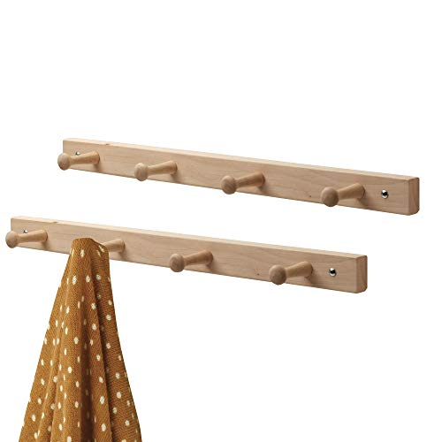 mDesign Decorative Wood Wall Mount 4 Hook Storage Organizer Rack for Coats, Hoodies, Hats, Scarves, Purses, Leashes, Bath Towels & Robes - 2 Pack - Natural Finish