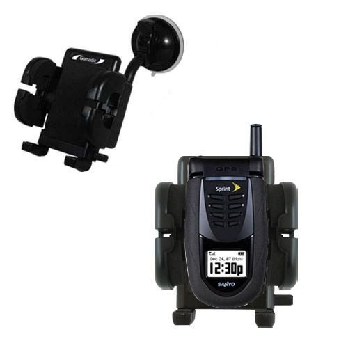 Windshield Vehicle Mount Cradle suitable for the Sanyo SCP-7050 - Flexible Gooseneck Holder with Suction Cup for Car / Auto.
