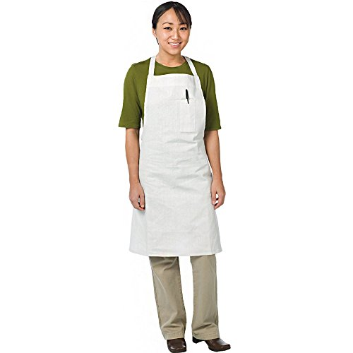 Chef Revival 610BAC Cotton Economy Bib Apron with Pencil Pocket, 40 by 37-Inch, White