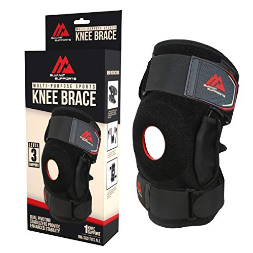 Knee brace sleeve for Women & Men – Adjustable compression hinged braces for Running, Crossfit, all Sports & Exercise – Maximum patellar tendon support for pain relief & arthritis
