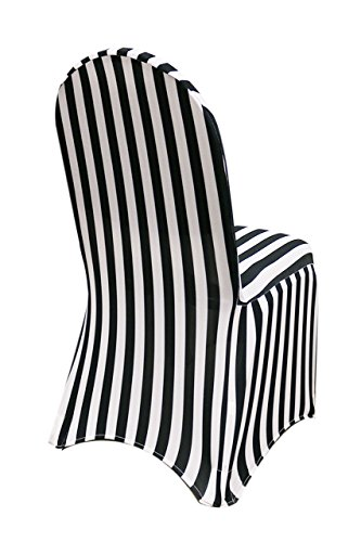 YCC Linen - 6 Pack Stretch Spandex Chair Covers Striped - Black and White