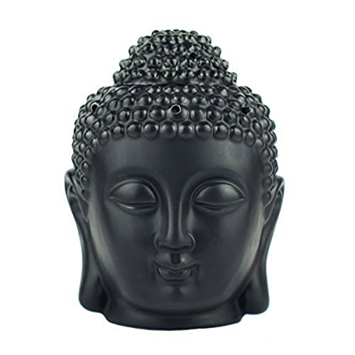 Price comparison product image Buddha Head Statue Oil Burner Translucent Ceramic Aromatherapy Diffusers Home Decor (Black)