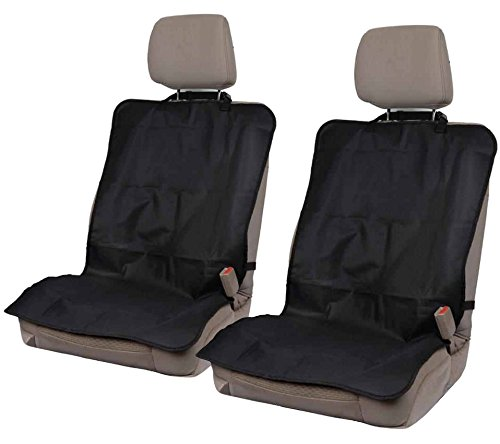 On-The-Go Waterproof Car Seat Protectors for Gym Work Travel - Black Oxford Fabric - Quick n Easy Heavy Duty Covers -