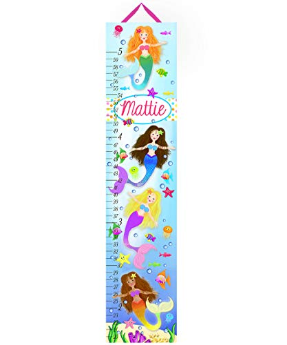Mermaids Canvas Growth Chart - Toad and Lily Canvas Growth Chart Mermaid Magic Girls Bedroom Baby Nursery Bedroom Wall Art GC0099