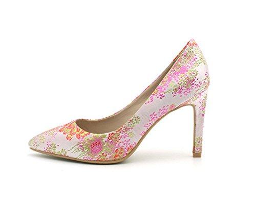 Mujer De Zapatos Alto Bordado Tela Señaló 39 Tacones Tacón Fina Nvxie Superficial Con Altos Verano Boca Pink 35 5gEqdgw