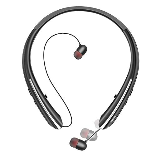 Bluetooth Headphones, Bluenin Wireless Neckband Headset with Retractable Earbuds,Sports Sweatproof Noise Cancelling Stereo Earphones with ()