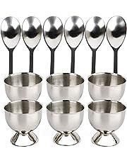 Padyrytu Steel Egg Cups Set for Hard Soft Boiled Eggs with 6 Egg Cup Holders 6 Egg Spoons,Enjoy Egg Cups Breakfast