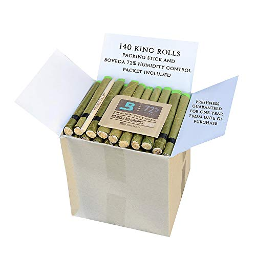 King Palm Hand Rolled Leaf Wrap Rolls + Boveda - King Size - 140 Count Bulk Pack by King Palms (Image #3)