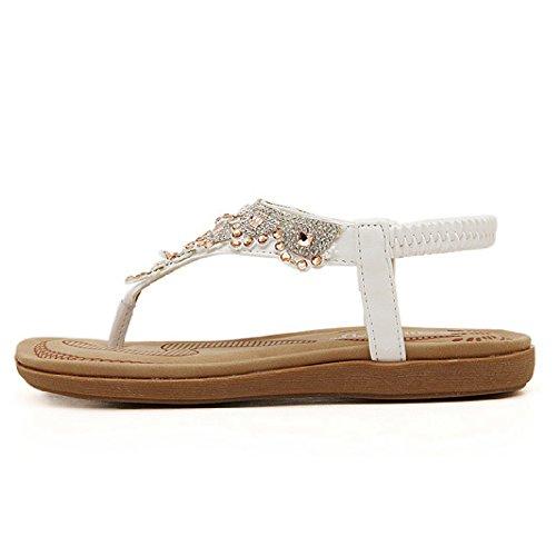 Btrada Sandalen Voor Dames Zomer Flats Schoenen Bohemen Sandalen Clip Teen Flip Flops Wit