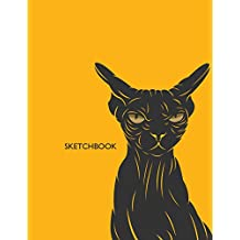 Sketchbook: Sphynx cat on dark yellow cover  (8.5 x 11)  inches 110 pages, Blank Unlined Paper for Sketching, Drawing , Whiting , Journaling & Doodling