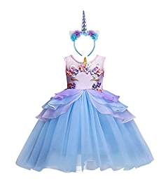 OBEEII Unicorn Party Costume Flower Ruffles Cosplay Fancy Dress Unicorn Horn Headband Toddler Baby Unicorn Shoes Kids Girls Princess Tutu Skirt for Birthday ...