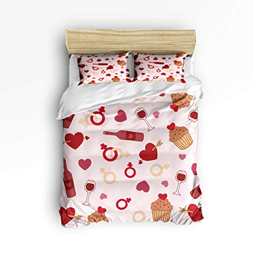 - NewThangKa Bedding Sets & Collections 3 Piece Set (1 Quilt Cover + 2 Pillow Cases Covers), Dessert Wine Love Heart Home Decor Gift for Women Men Boys Girls Full Size