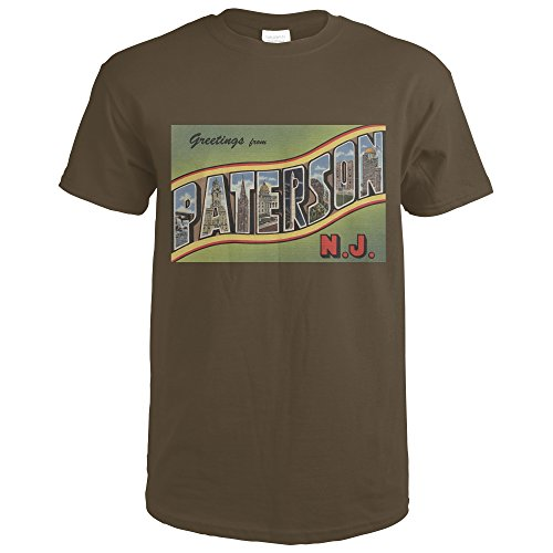 Paterson, New Jersey - Large Letter Scenes (Dark Chocolate T-Shirt X-Large) (8560 Chocolate)