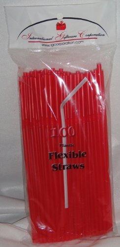 IGC Clearance 10,000 Straws - Flex/Flexible Drinking Straws - Clearance Wholesale Lot - Luau - Wedding - Party - Red - Flexible Straws -