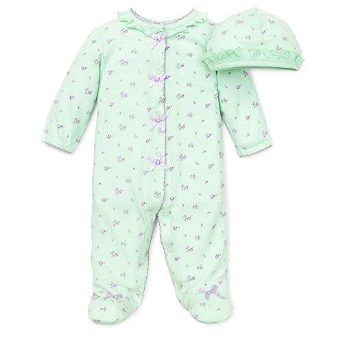 Green Girls Light - Little Me Baby Girl Newborn Petite Rose Footie and Hat, Light Green, 6 Months