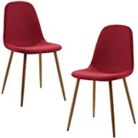 Versanora - Minimalista Stylish Vintage Beautiful Fabric Set of 2 Chairs - Deep Red